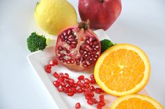 Fresh Pomegrante with Variety Healthy Fruits Royalty Free Stock Photos