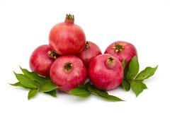 Fresh pomegranates. On white royalty free stock image