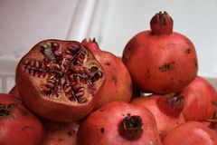 Fresh Pomegranates in Acre, Israel stock images