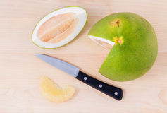 Fresh pomelo cutting and peeled Stock Photo