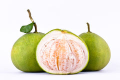 Fresh pomelos peeled  and green pomelos on white background healthy fruit food isolated Royalty Free Stock Photos