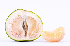 Fresh pomelos peeled  and half pomelos on white background healthy fruit food isolated Stock Images