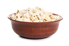 Fresh pop corn in ceramic plate isolated on white background Royalty Free Stock Photography