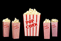 Fresh Popped Popcorn On Black Background Stock Image