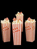 Fresh Popped Popcorn On Black Background With Tickets Stock Photo