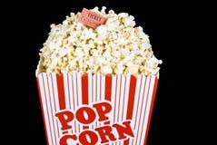 Fresh Popped Popcorn With Ticket On Black Background Stock Image
