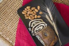Fresh poppy strudel with almonds Royalty Free Stock Photos