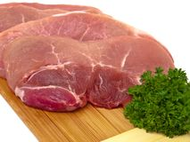 Fresh porc cuts closeup view Stock Images