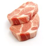 Fresh pork. Fresh boneless pork isolated on white background with shadows Stock Photography