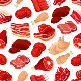 Fresh pork and beef meat seamless pattern Royalty Free Stock Photos