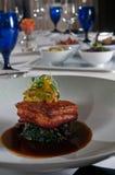 Fresh Pork Belly Over Collard Greens Royalty Free Stock Photo
