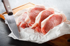 Fresh pork chops Stock Photos