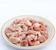 Fresh pork cut into pieces. Fresh pork cut into pieces in a bowl stock photography