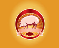 Fresh pork label with pig Royalty Free Stock Image