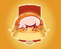 Fresh pork label with pig Stock Photography