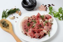 Fresh pork on a large plate, spices, spicy herbs royalty free stock image