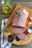 Fresh pork loin chops on the cutting board Stock Images
