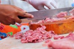 Fresh pork in the market Stock Photo