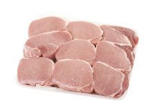 Fresh Pork Meat Pieces. In white styrofoam container; isolated, clipping path included Stock Images