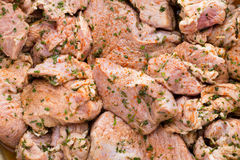 Fresh pork meat pieces in marinade. Stock Photography