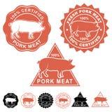 Fresh Pork Meat Seals Icons Set royalty free illustration