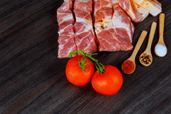 Fresh pork meat on wooden Board for cutting Stock Images