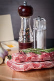 Fresh pork ribs, meat  with garlic allspice Stock Images