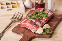 Fresh pork ribs, meat  with garlic allspice Stock Image
