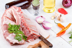 Fresh pork ribs, meat prepared for roast Royalty Free Stock Images