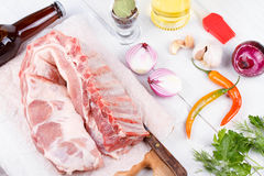 Fresh pork ribs, meat prepared for roast Royalty Free Stock Photo