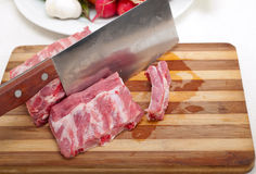 Fresh pork ribs and vegetables Royalty Free Stock Photo