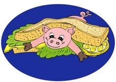 Fresh pork Sandwich Stock Images