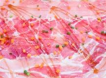 Fresh pork slices and seasoning sauce. Stock Photography