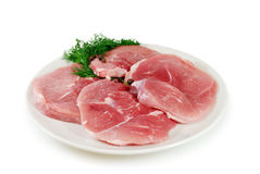 Fresh pork steaks. Fresh raw pork on a plate isolated on white background Royalty Free Stock Image