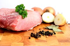 Fresh pork. On wooden cutting board Royalty Free Stock Images
