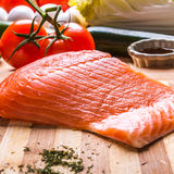 Fresh portion of fresh salmon fillet with Royalty Free Stock Photo