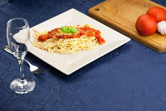 Fresh portion of spaghetti Milanese Royalty Free Stock Images