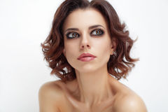Fresh portrait of beautiful woman with beauty hairstyle Royalty Free Stock Images