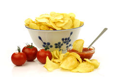Fresh potato chips and dip sauce Stock Photo