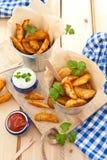 Fresh potato wedges Royalty Free Stock Images