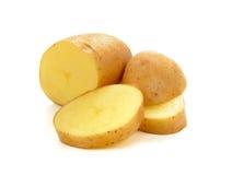 Fresh potatoe with slices isolated on white background. Isolated potatoes. Cut raw potato vegetables isolated on white background with clipping path stock photography