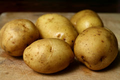 Fresh potatoes. From an organic farm on the wooden board Stock Photography