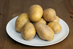 Fresh potatoes on plate. Fresh tasty potatoes on plate Stock Photos