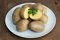 Fresh potatoes on plate. Fresh tasty potatoes on plate Royalty Free Stock Photos