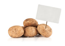 Fresh potatoes with price tag Stock Image