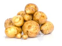 Fresh potatoes on a white Stock Photography
