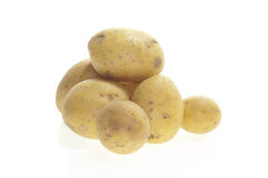 Fresh Potatoes on white Stock Photos