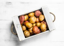 Fresh potatoes in a wooden box stock images