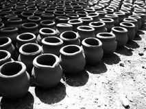 Fresh Pots. Fresh clay pots left for drying in the sunlight Royalty Free Stock Photo