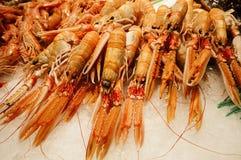 Fresh prawns at Boqueria market in Barcelona, Spain stock photo